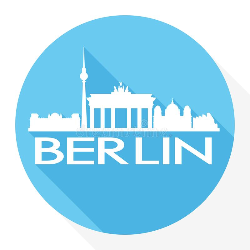 Logo de calibre de silhouette de ville d'Art Flat Shadow Design Skyline de vecteur de Berlin Germany Europe Round Icon illustration stock