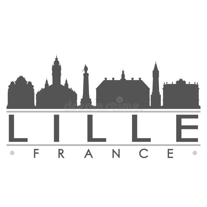 Logo de calibre de silhouette de ville d'Art Flat Shadow Design Skyline de vecteur d'icône de silhouette de Lille France l'Europe illustration de vecteur