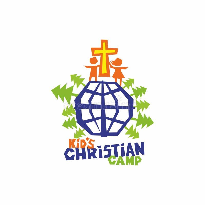 Logo de camp de chrétien du ` s d'enfant La croix de Jésus, des enfants et du globe - le monde entier illustration de vecteur