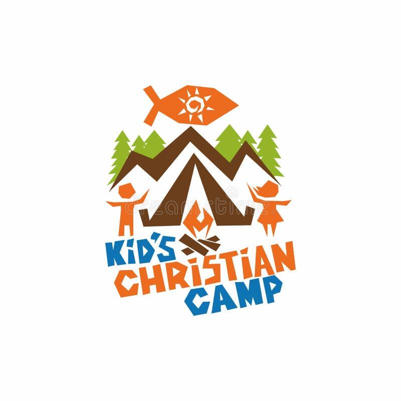 Logo de camp de chrétien du ` s d'enfant Poissons, montagnes, tente, enfants et feu de Jésus illustration de vecteur