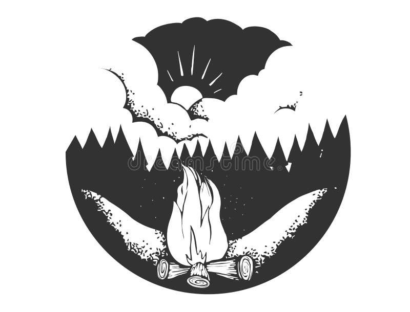 Logo de camp de vecteur Signe de tourisme avec l'illustration tirée par la main de feu Emblème typographique, illustration de vec illustration stock