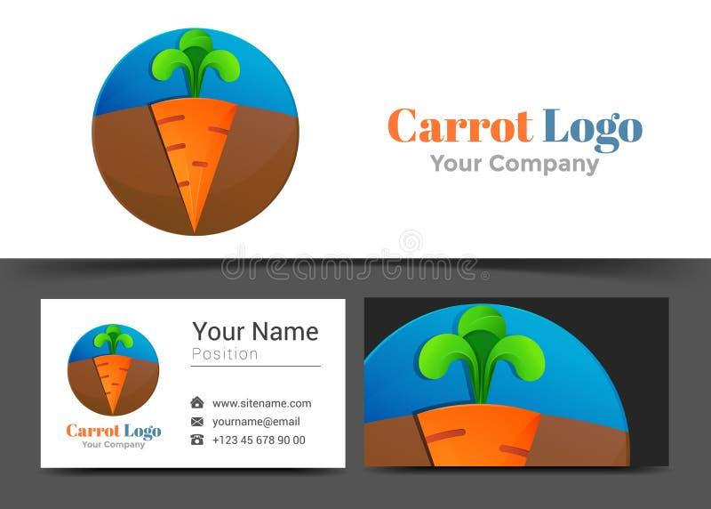 Logo de carotte et signe d'entreprise verts oranges de carte de visite professionnelle de visite illustration libre de droits