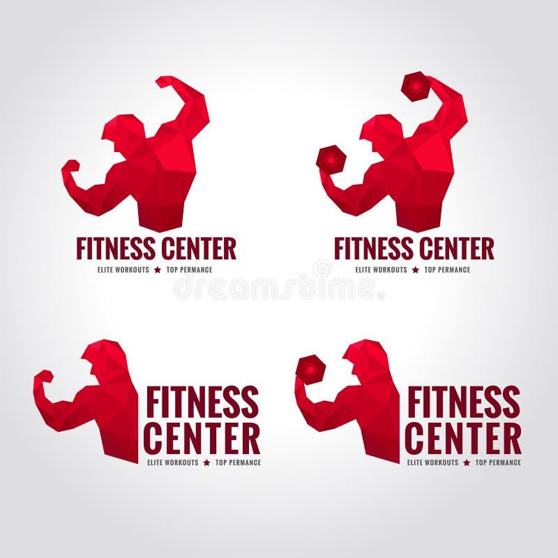 Logo de centre de fitness bas poly illustration stock
