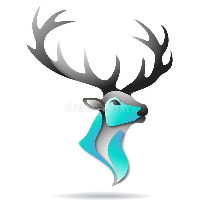 Logo de cerfs communs Illustration colorée de vecteur illustration de vecteur