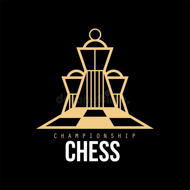Logo de championnat d'échecs, élément de conception pour le tournoi, club d'échecs, illustration de vecteur de carte de visite pr illustration de vecteur