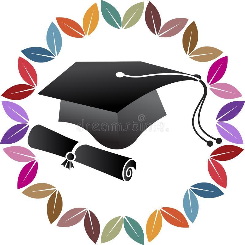 Logo de chapeau d'obtention du diplôme de stylo illustration de vecteur
