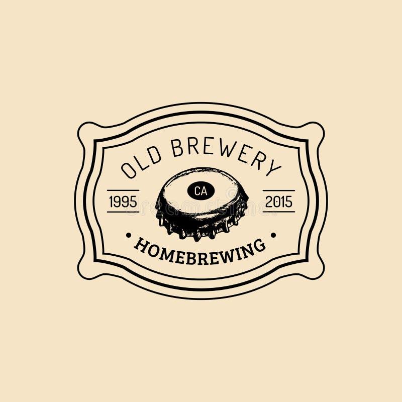 Logo de chapeau de bouteille à bière de Papier d'emballage Vieille icône de brasserie La main a esquissé l'illustration de bière  illustration libre de droits