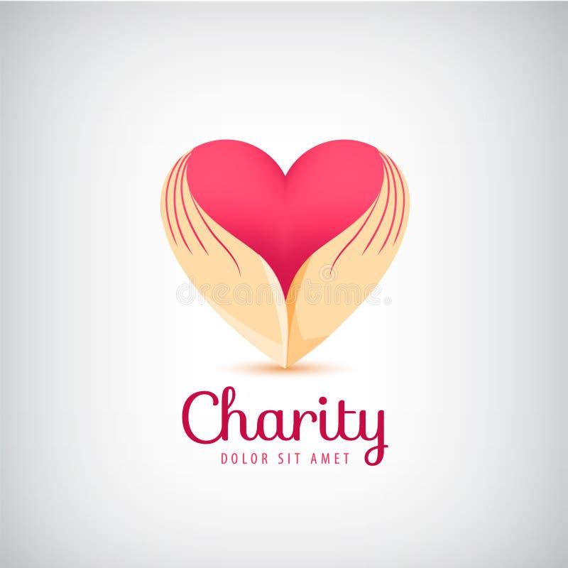 Logo de charité de vecteur 2 mains tenant l'icône de coeur illustration libre de droits