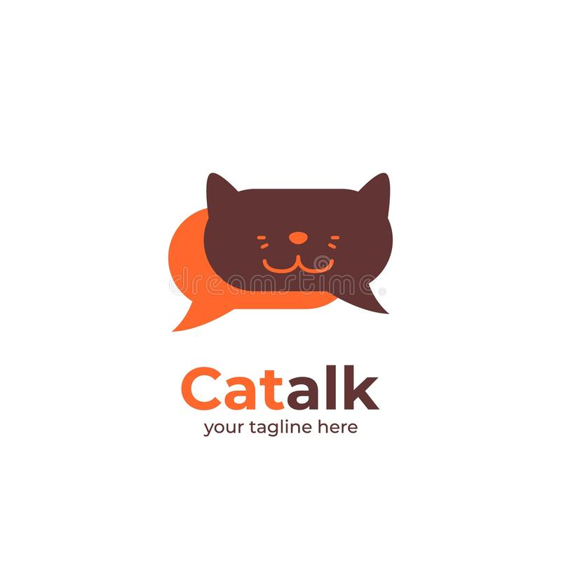 Logo de chat talk pour le forum, la communauté ou l'application de chat logo du chat dans la bulle icône de la forme vocale de la illustration stock