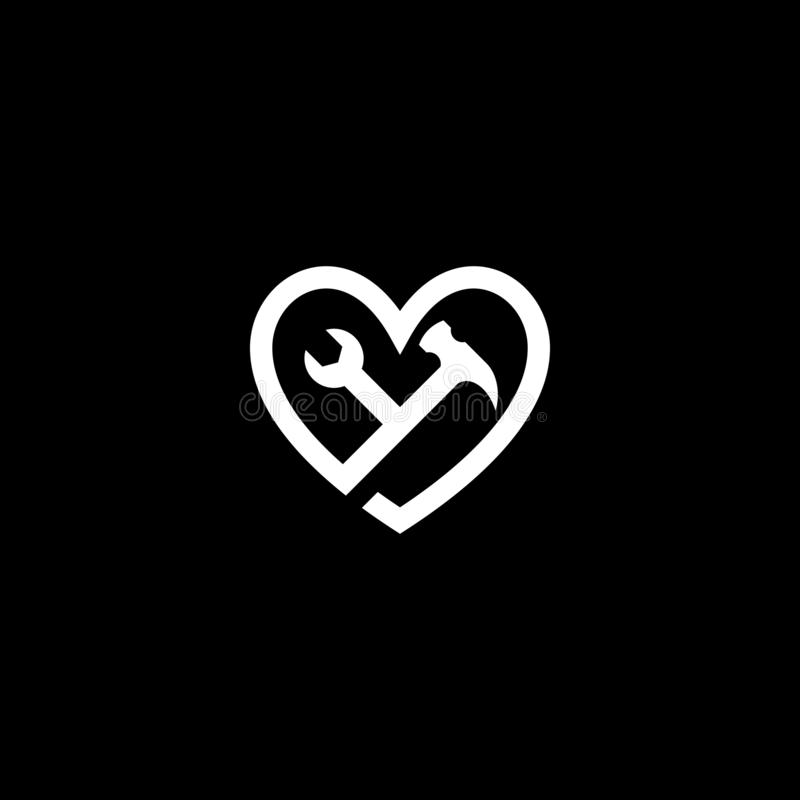 Logo de clé et de marteau d'outil d'amour illustration stock