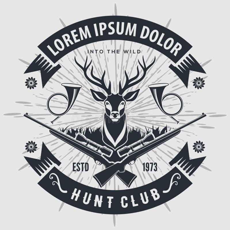 Logo de club de chasse à style de cru avec chasser des fusils illustration libre de droits