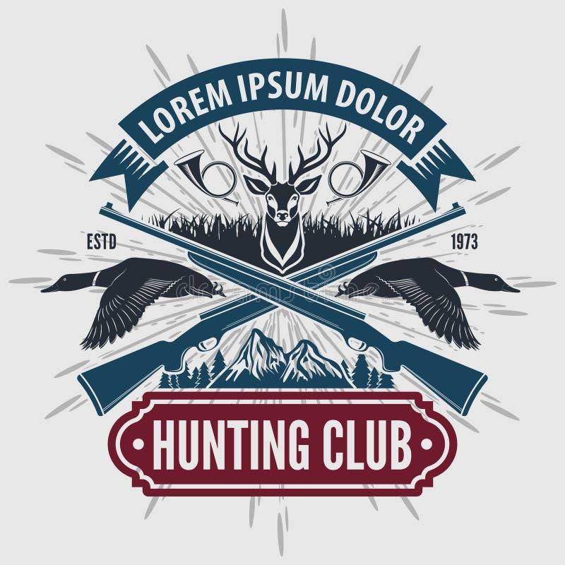 Logo de club de chasse à style de cru avec chasser des fusils illustration stock