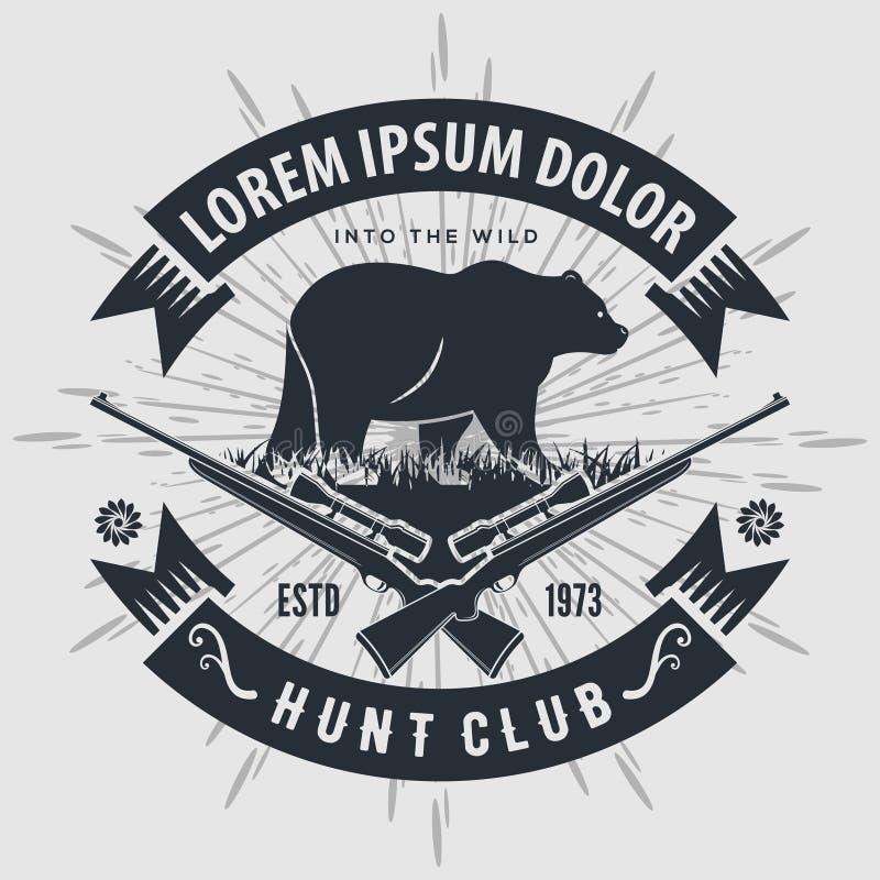 Logo de club de chasse à style de cru avec chasser des fusils Illustration de vecteur illustration stock