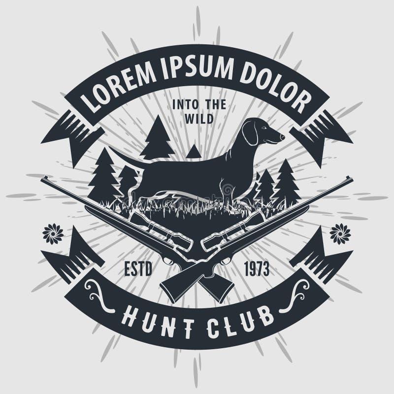 Logo de club de chasse à style de cru avec chasser des fusils Illustration de vecteur illustration de vecteur