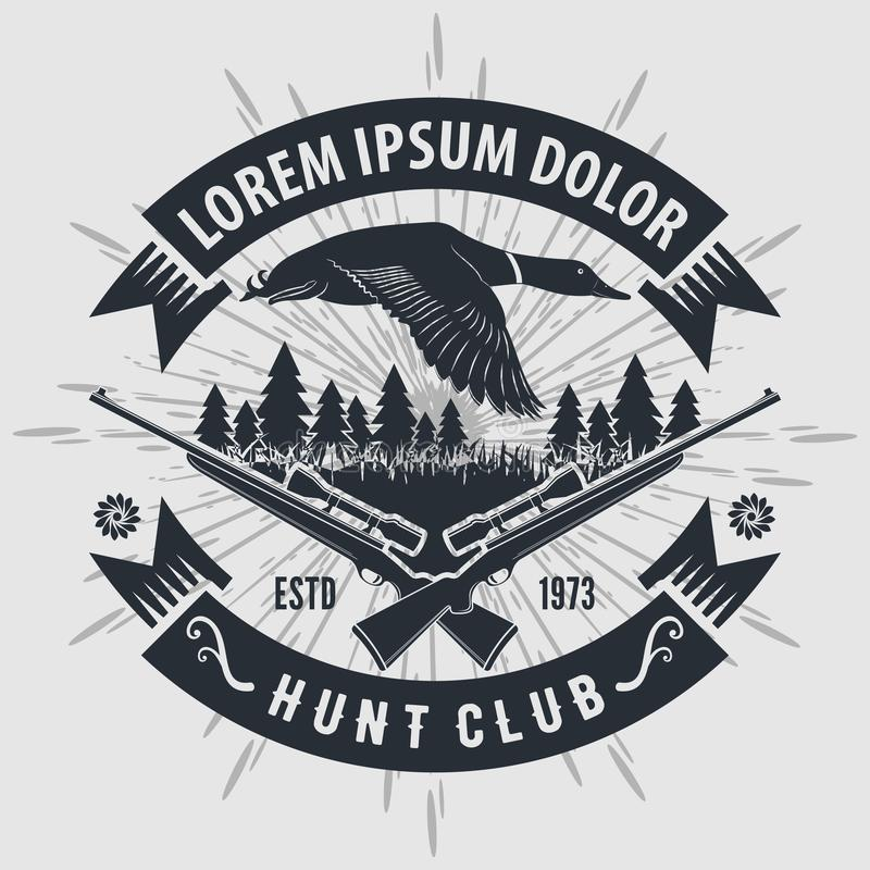 Logo de club de chasse à style de cru avec chasser des fusils Illustration de vecteur illustration libre de droits