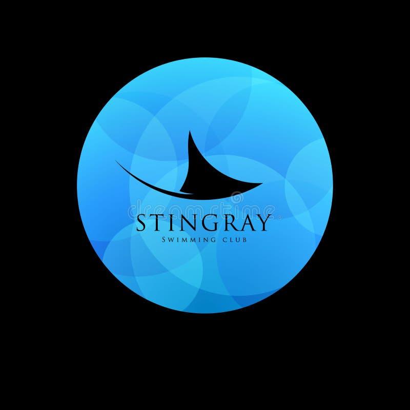 Logo de club de natation de pastenague Icône de club de plongée Silhouette de pastenague sur le fond bleu illustration stock