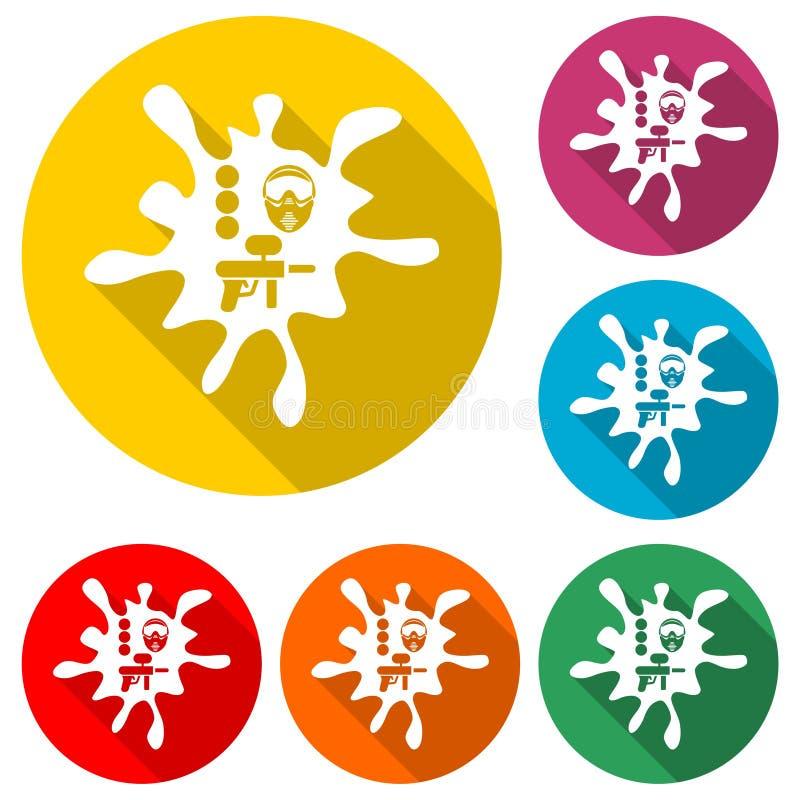 Logo de club de Paintball, icône de Paintball, ensemble de couleur avec la longue ombre illustration de vecteur
