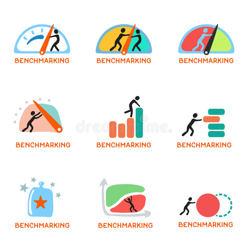Logo de concept d'évaluation, ensemble d'icône de vecteur illustration stock