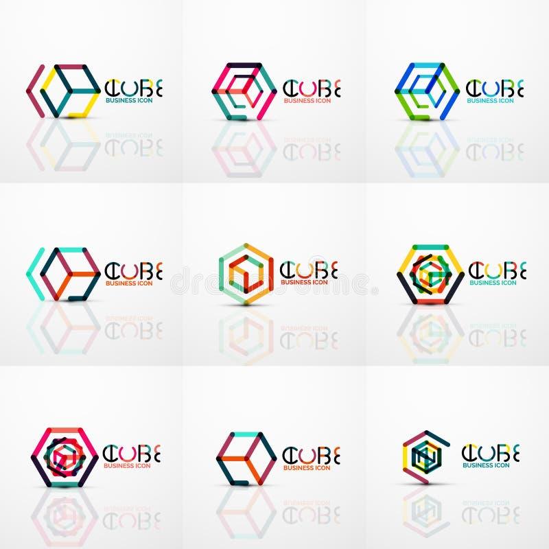 Logo de concept d'idée de cube, ligne illustration stock