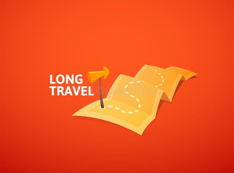 Logo de concept de tour du monde, long itinéraire dans la carte de voyage avec le marqueur de guide illustration de vecteur
