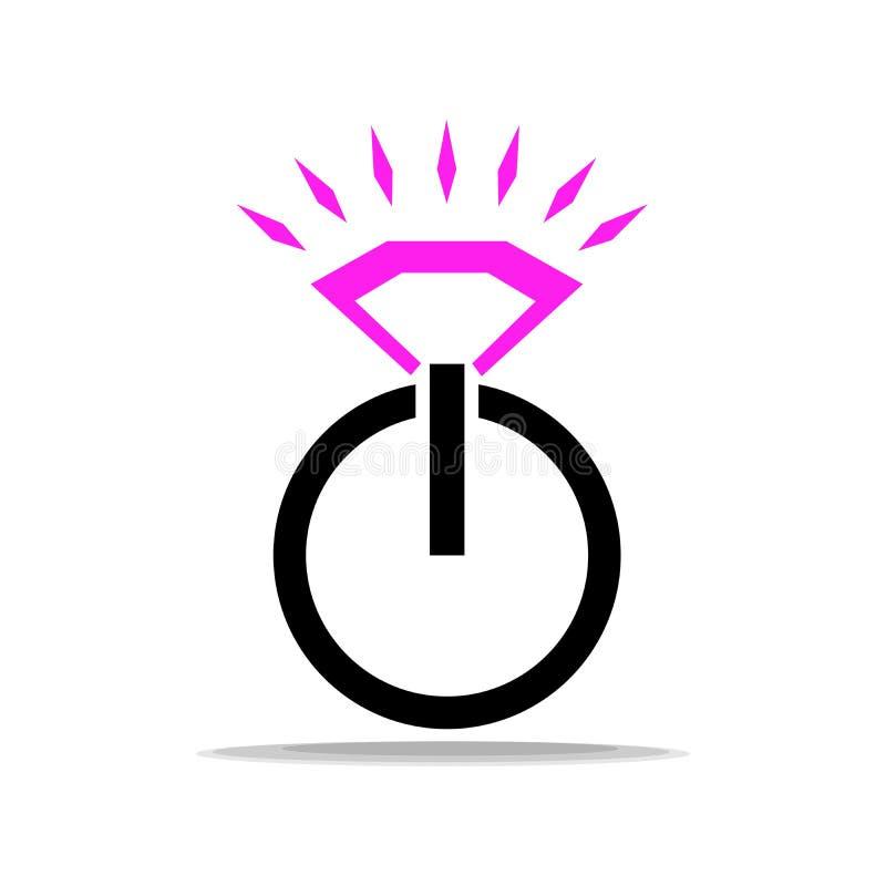 Logo de contraste en l'honneur de l'engagement Anneau à la mode avec un diamant sous forme de bouton marche image stock