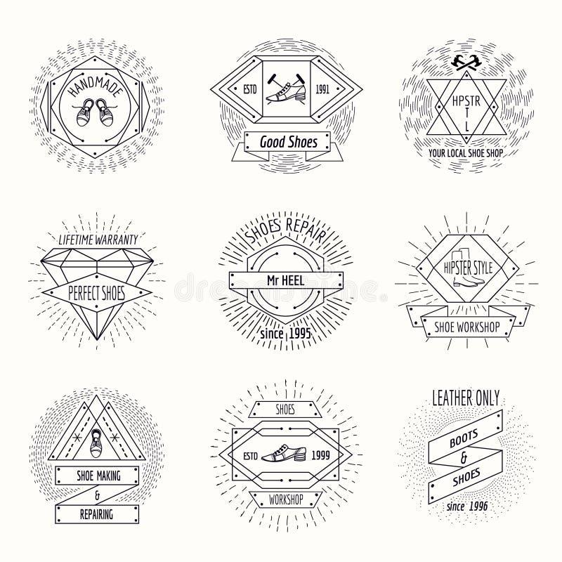 Logo de cordonnerie ou labels de réparation de chaussures dans le hippie illustration de vecteur