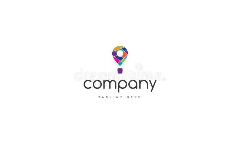 Logo de couleur de vecteur sur lequel l'image abstraite du ballon comme icône de GPS illustration libre de droits