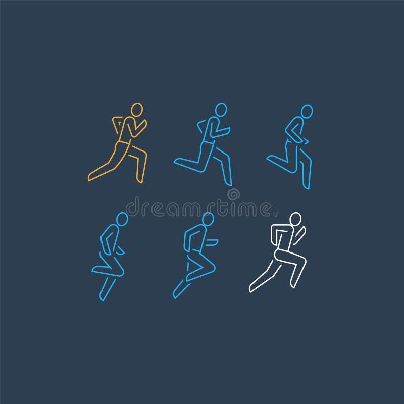 Logo de coureur, ligne courante icône de personne, ensemble d'ordre de mouvement, marathon et concept de triathlon illustration de vecteur