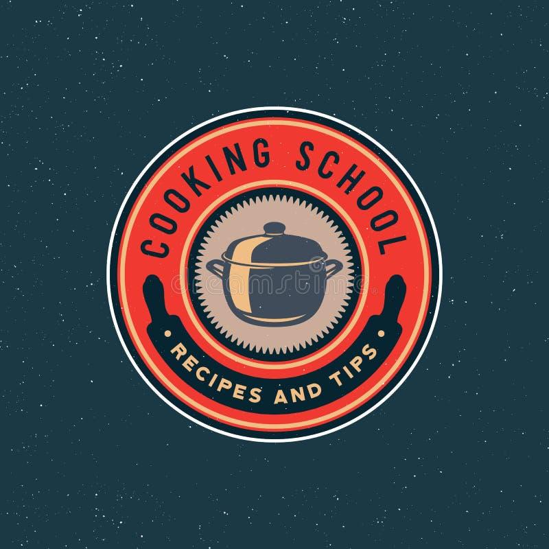 Logo de cours de cuisine de vintage rétro emblème culinaire dénommé d'école Illustration de vecteur illustration libre de droits