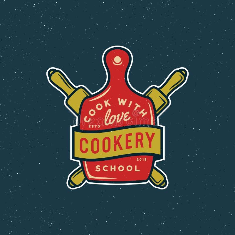 Logo de cours de cuisine de vintage rétro emblème culinaire dénommé d'école Illustration de vecteur illustration de vecteur