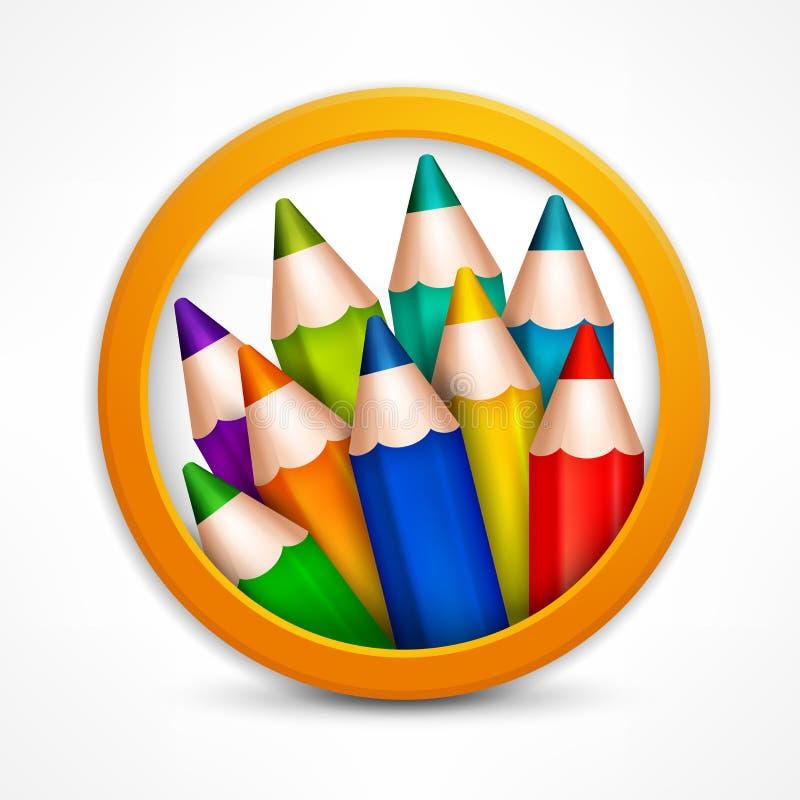 Logo de crayon de cercle illustration de vecteur