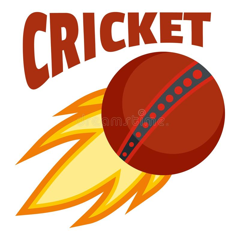 Logo de cricket de boule de feu rouge, style plat illustration stock