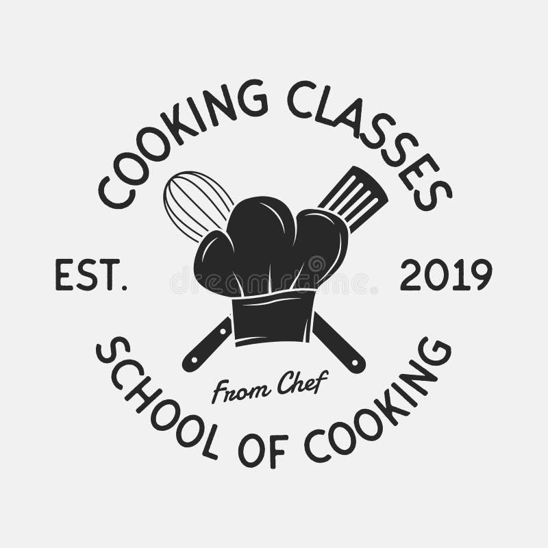 Logo de cru de cours de cuisine Le chapeau du chef, les icônes de batteur et de spatule École culinaire, faisant cuire des cours, illustration de vecteur