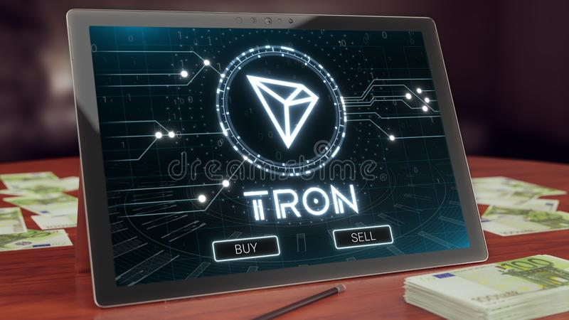 Logo de cryptocurrency de Tron sur l'affichage de comprimé de PC illustration 3D photos stock