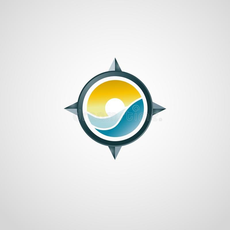 Logo de déplacement avec la boussole Coucher du soleil et mer illustration libre de droits