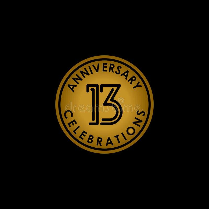 Logo de diseño de línea de 13 años elemento vectorial con un anillo dorado aislado y elegancia en un fondo negro ilustración del vector
