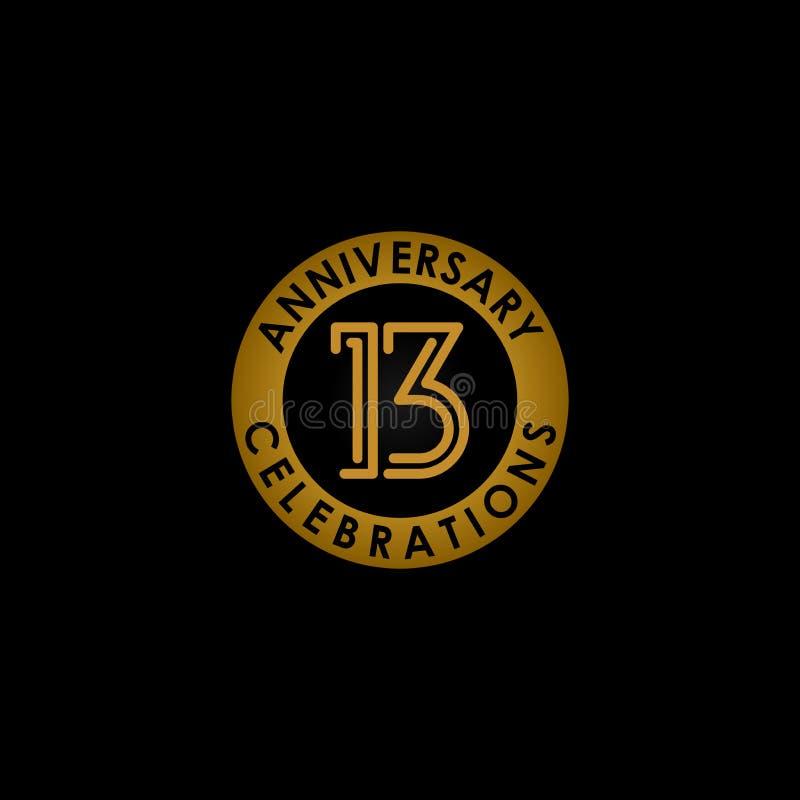Logo de diseño de línea de 13 años elemento vectorial con un anillo dorado aislado y elegancia en un fondo negro stock de ilustración
