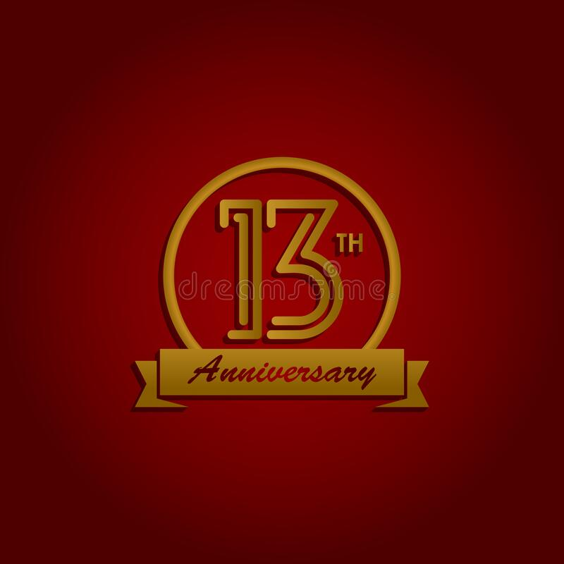 Logo de diseño de línea de 13 años elemento vectorial con un anillo dorado y elegancia en un fondo rojo ilustración del vector