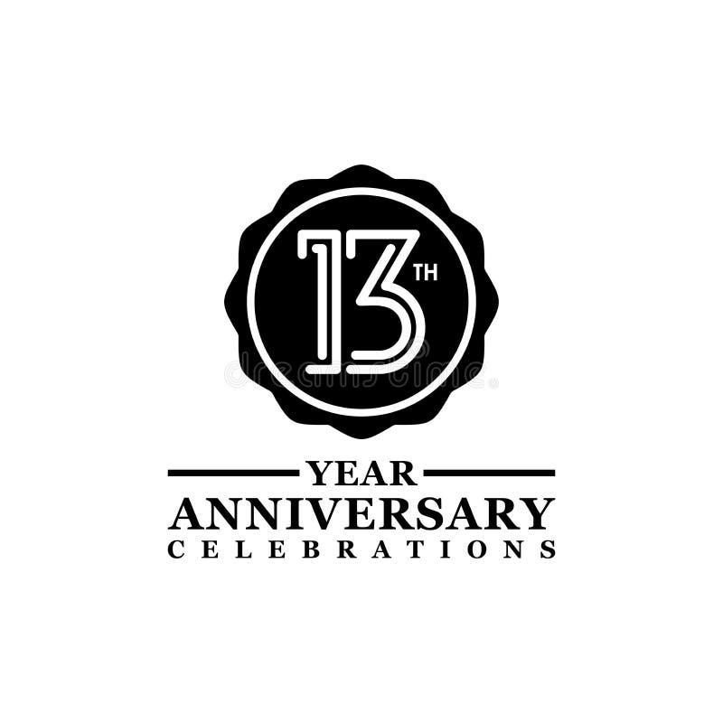 Logo de diseño de línea de 13 años elemento vectorial con un anillo negro y elegancia en un fondo blanco libre illustration