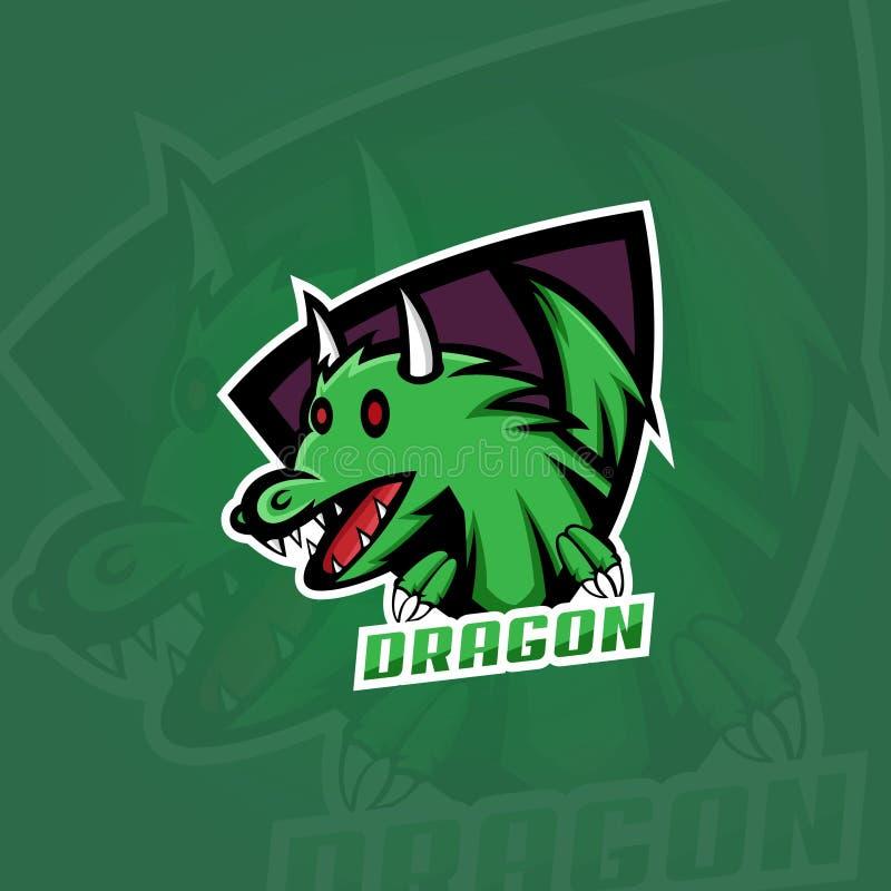 Logo de dragon, conception de logo de jeu illustration de vecteur