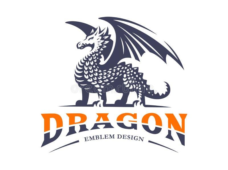 Logo de dragon - dirigez l'illustration, emblème sur le fond blanc illustration stock