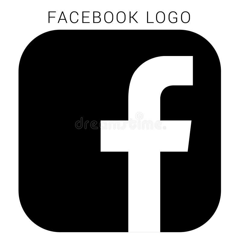 Logo de Facebook avec le dossier du vecteur AI Noir et blanc carrés illustration de vecteur