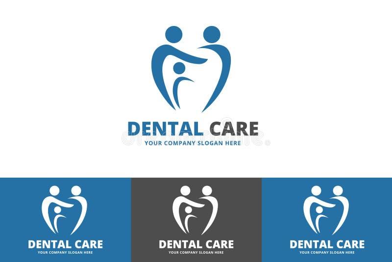 Logo de famille de soins dentaires d'isolement sur le fond blanc illustration stock