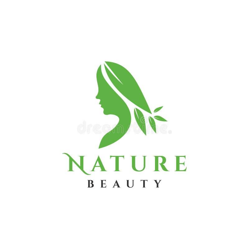 Logo de femme avec le vecteur de feuille illustration de vecteur
