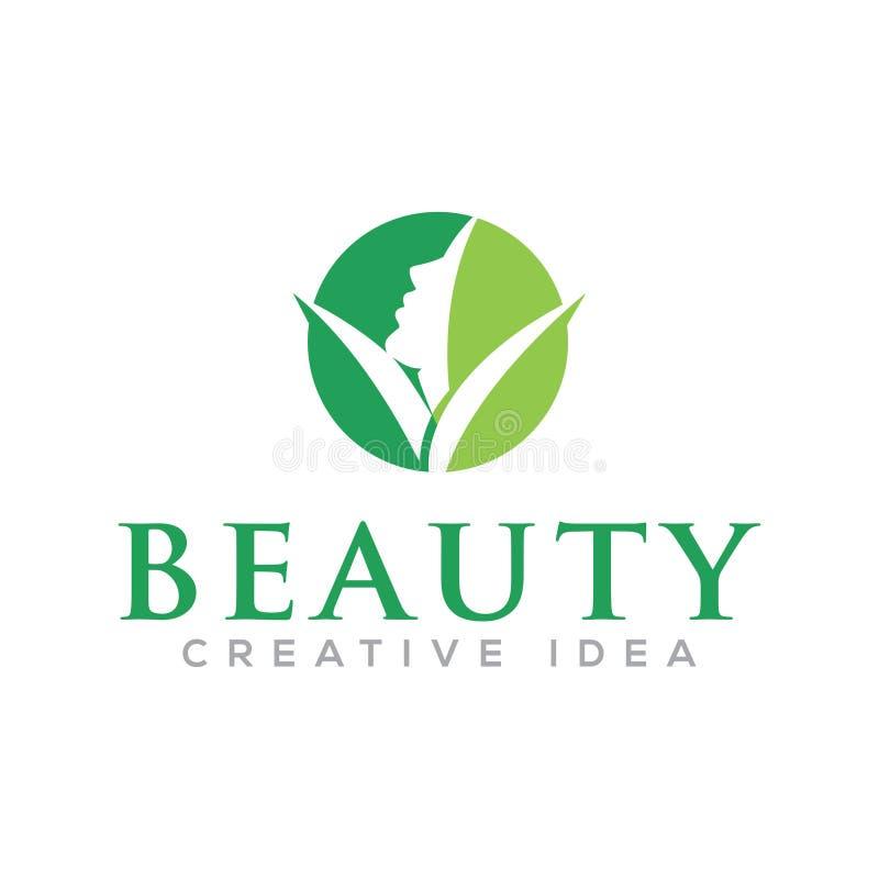 Logo de femmes de beauté de visage de cercle illustration de vecteur