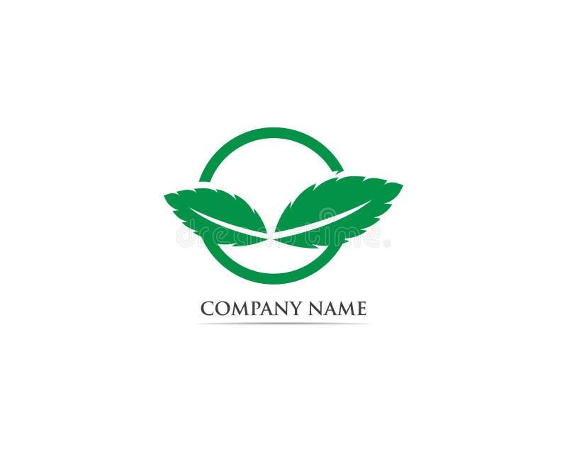 Logo de feuille et vecteur en bon état de symbole illustration de vecteur