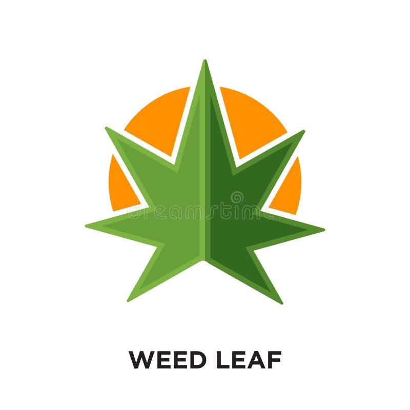 logo de feuille de mauvaise herbe d'isolement sur le fond blanc pour votre Web, mobile illustration de vecteur