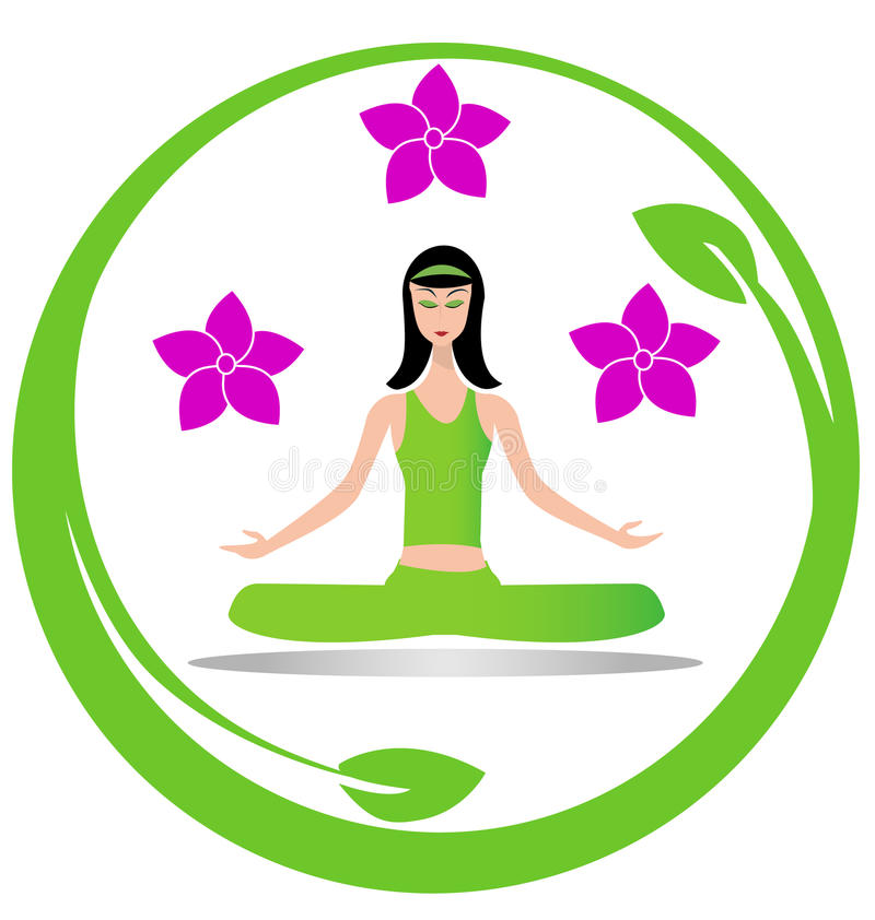 Logo de fille de méditation de yoga illustration stock