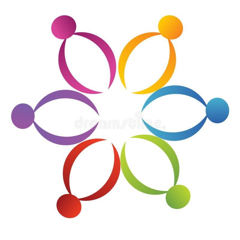 Logo de fleur de support de travail d'équipe illustration libre de droits