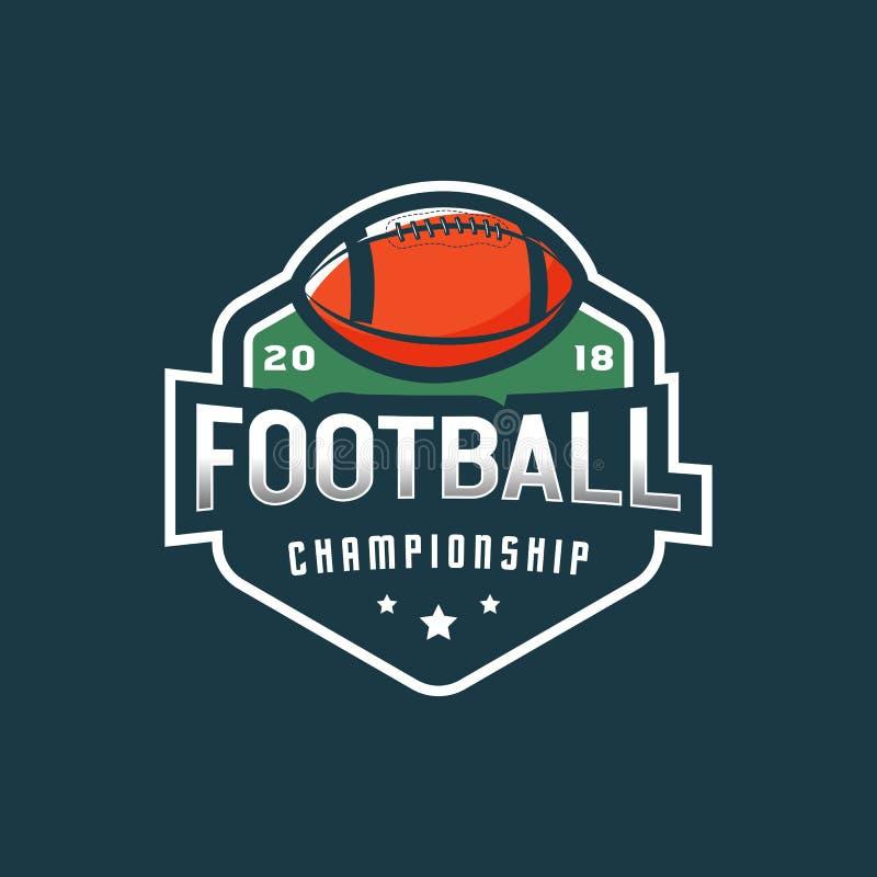Logo de football américain emblème de sport, insigne Illustration de vecteur illustration de vecteur